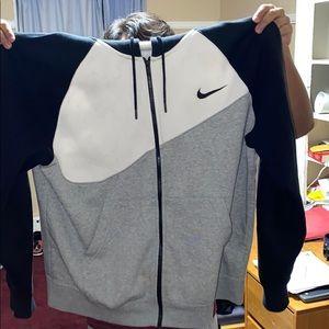 Nike Swoosh Full-Zip Hoodie Black/Grey/White